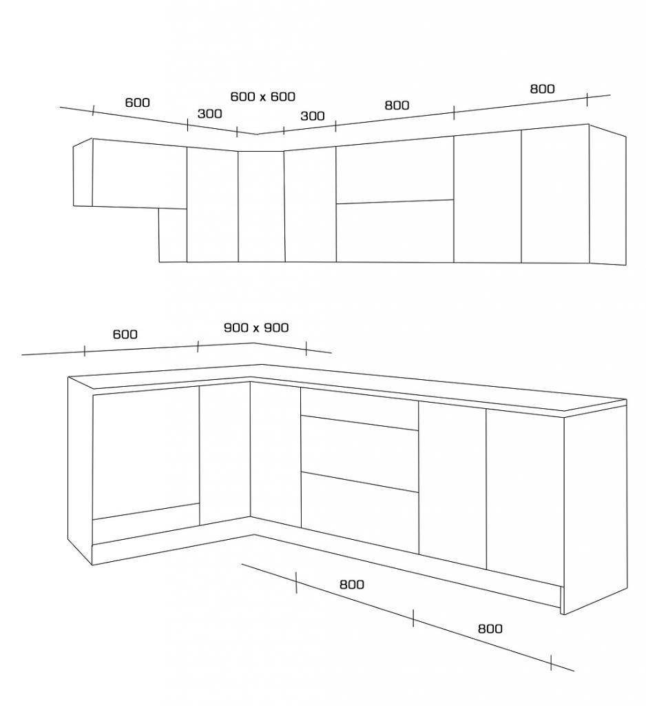 Rohová kuchyně Emilia - nákres s rozměry