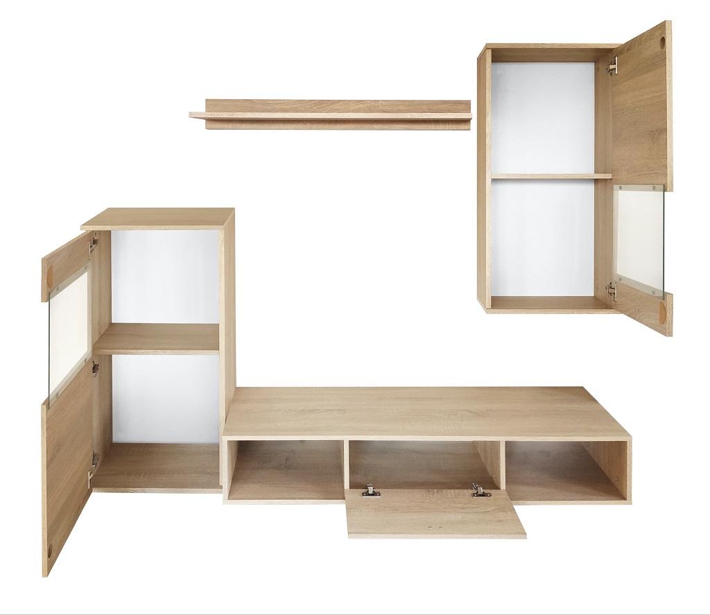 Detail skříněk a polic obývací stěny