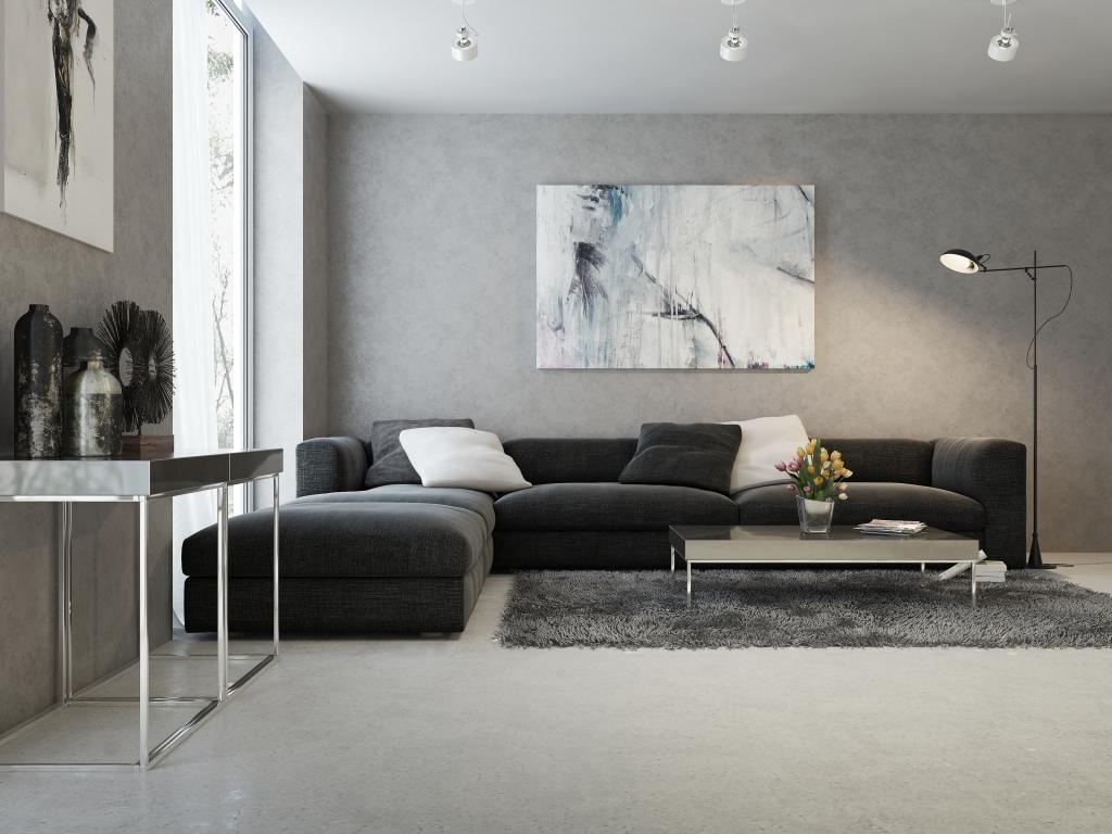 Stěnu můžete vymalovat šedou či antracitovou. Originálně barva vypadá i na podlaze