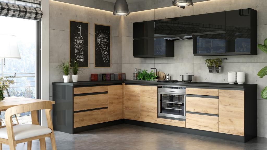 Rohová kuchyně Brick je elegantní a velmi prostorná