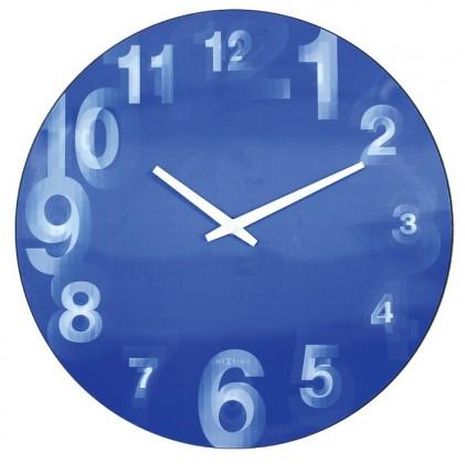 3D  - hodiny, nástěnné, kulaté (tvrzený plast, modré)