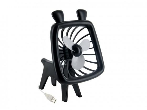 4World USB ventilátor Animal,silent Wave,černý ROZBALENO