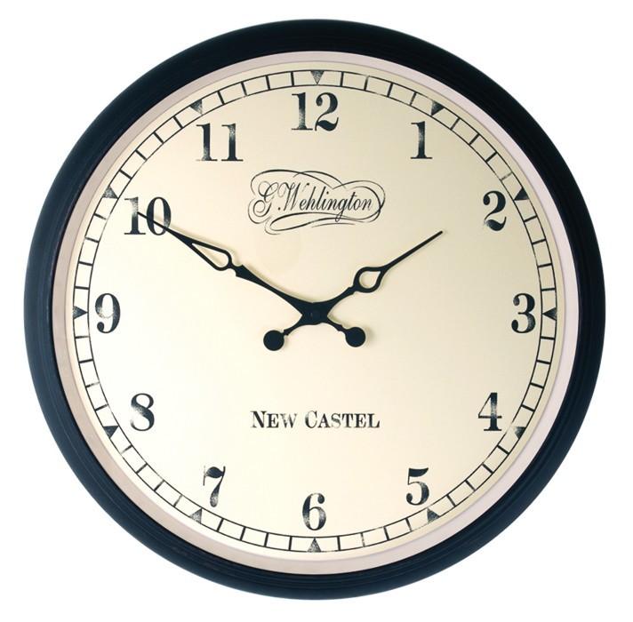 Aaltje - hodiny, nástěnné, kulaté (sklo, patinový kov, bílé)