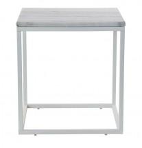 Accent - Konferenční stolek, bílý rám (přírodní mramor, ocel)