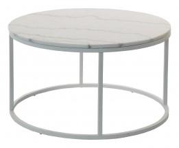 Accent - Konferenční stolek kruhový, nižší (mramor, bílá)