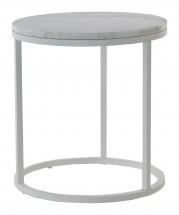 Accent - Konferenční stolek kruhový, vyšší (mramor, bílá)