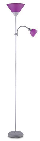 Action - Lampa, E27 (stříbrná/fialová)