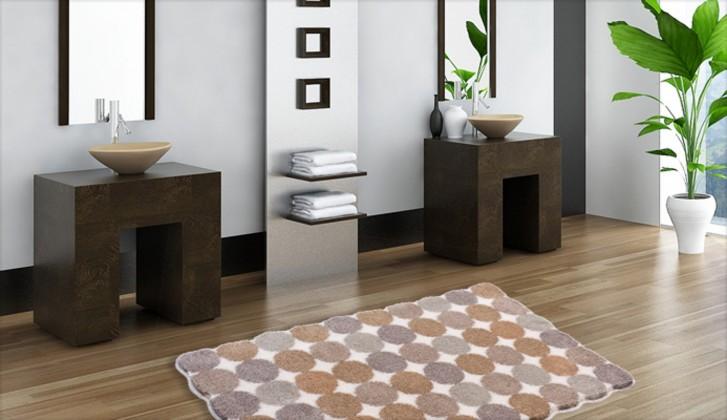 Agarthi - Koupelnová předložka 70x120 cm (světle hnědá-bílá)