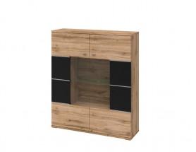 Alberto - Vitrína, 2x dveře (dub wotan/dub wotan, černá)