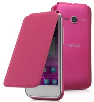 Alcatel One Touch M´POP Flip pouzdro s logem, Pink