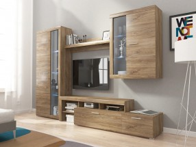 Alvaro - Obývací stěna, 2x vitrína, RTV komoda (stirling)