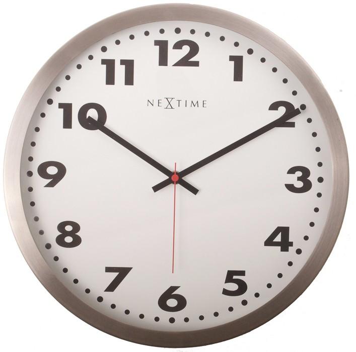 Arabic - hodiny, nástěnné, kulaté (sklo, nerez, bílé)