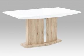 AT - Jídelní stůl (vysoký lesk bílý/dub san remo)
