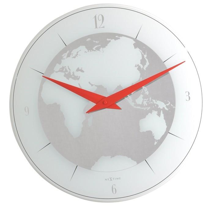 Atlas - hodiny, nástěnné, kulaté (sklo, bílé)