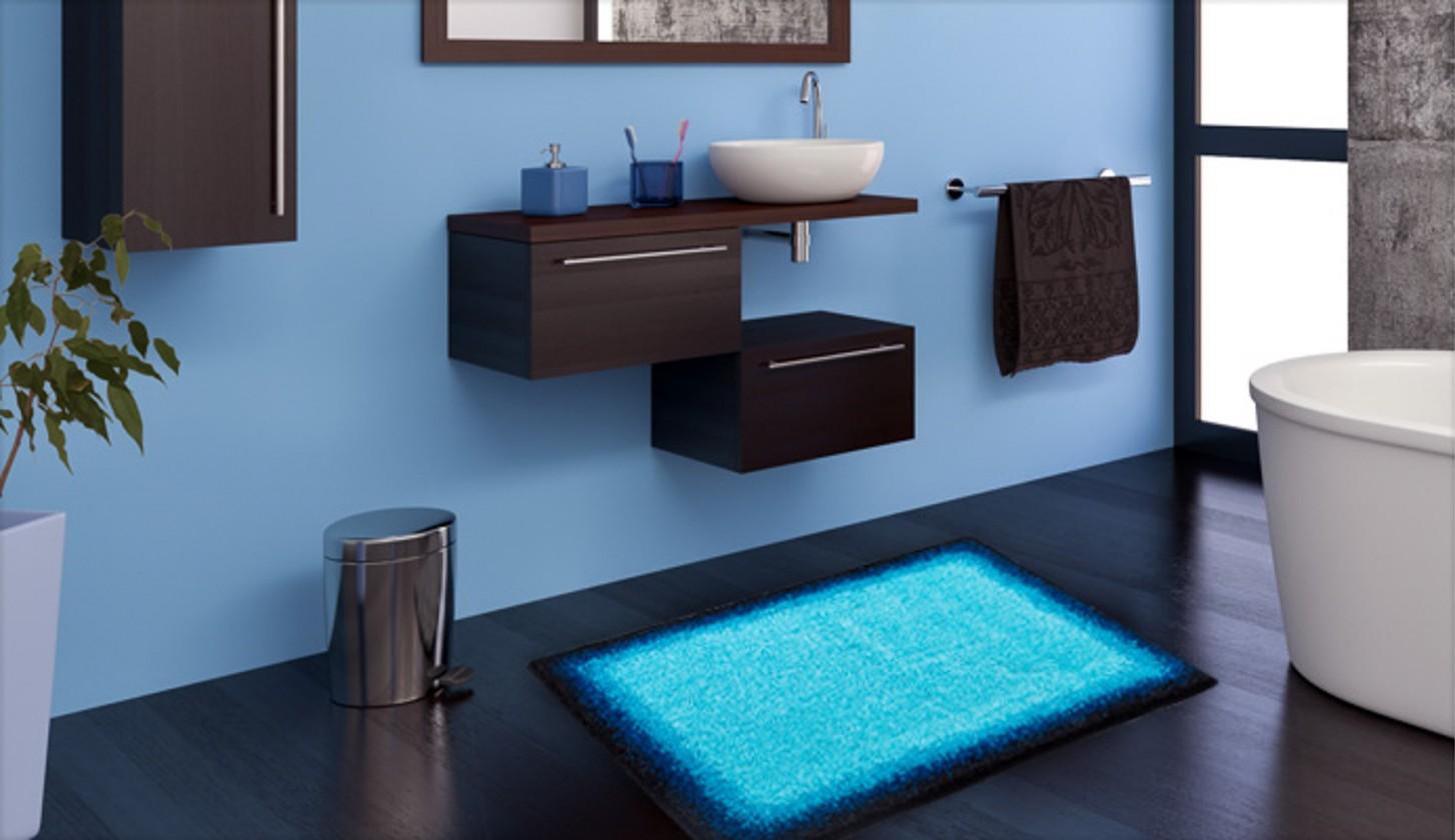 Avalon - Koupelnová předložka 70x120 cm (ledově modrá-černá)