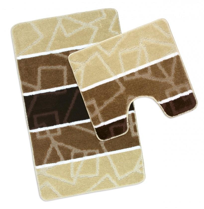 Avangard - Koupelnová sada 50x80 + 50x40 (hnědé čtverce)