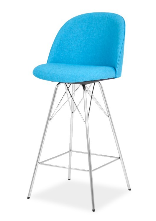 Barová židle ALLY 9368-220+PORGY BAR 9340-091 (tyrkys,chrom)