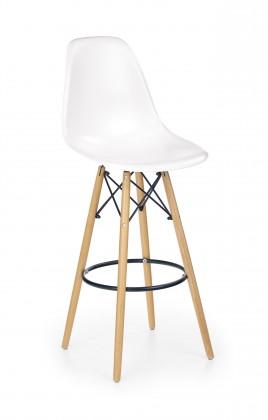 Barová židle Barová židle Gabri (plast, kov, dřevo, bílá)