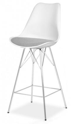 Barová židle Barová židle GINA 9361-413+PORGY BAR 9340-091 (bílá/šedá/chrom)