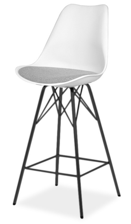Barová židle Barová židle GINA 9361-413+PORGY BAR 9340-824 (bílá/šedá/černá)