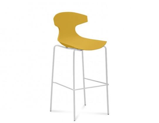 Barová židle Echo-Sgb - Barová židle (bílý lak, hořčicová)
