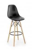 Barová židle Gabri (plast, kov, dřevo, černá)
