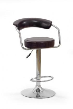 Barová židle H-14 (eco kůže tm.hnědá,chrom)