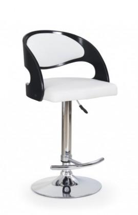 Barová židle H-18 (černá,eco kůže bíá,chrom)