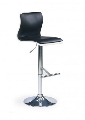 Barová židle H-30 (dřevo bílá,eco kůže černá,chrom)