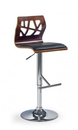 Barová židle H-34 (ořech,eco kůže černá,chrom)