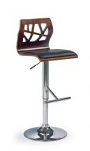 Barová židle H-34 (ořech/eco kůže černá/chrom)