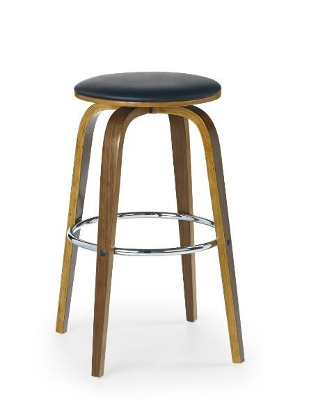 Barová židle H-39 (ořech,eco kůže černá)