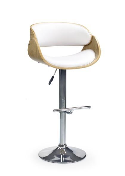 Barová židle H-43 (světlý dub,eco kůže bílá,chrom)