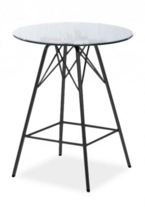 Barový stůl LOLA 9307-090+PORGY BAR 9340-824 (čiré sklo,černá)