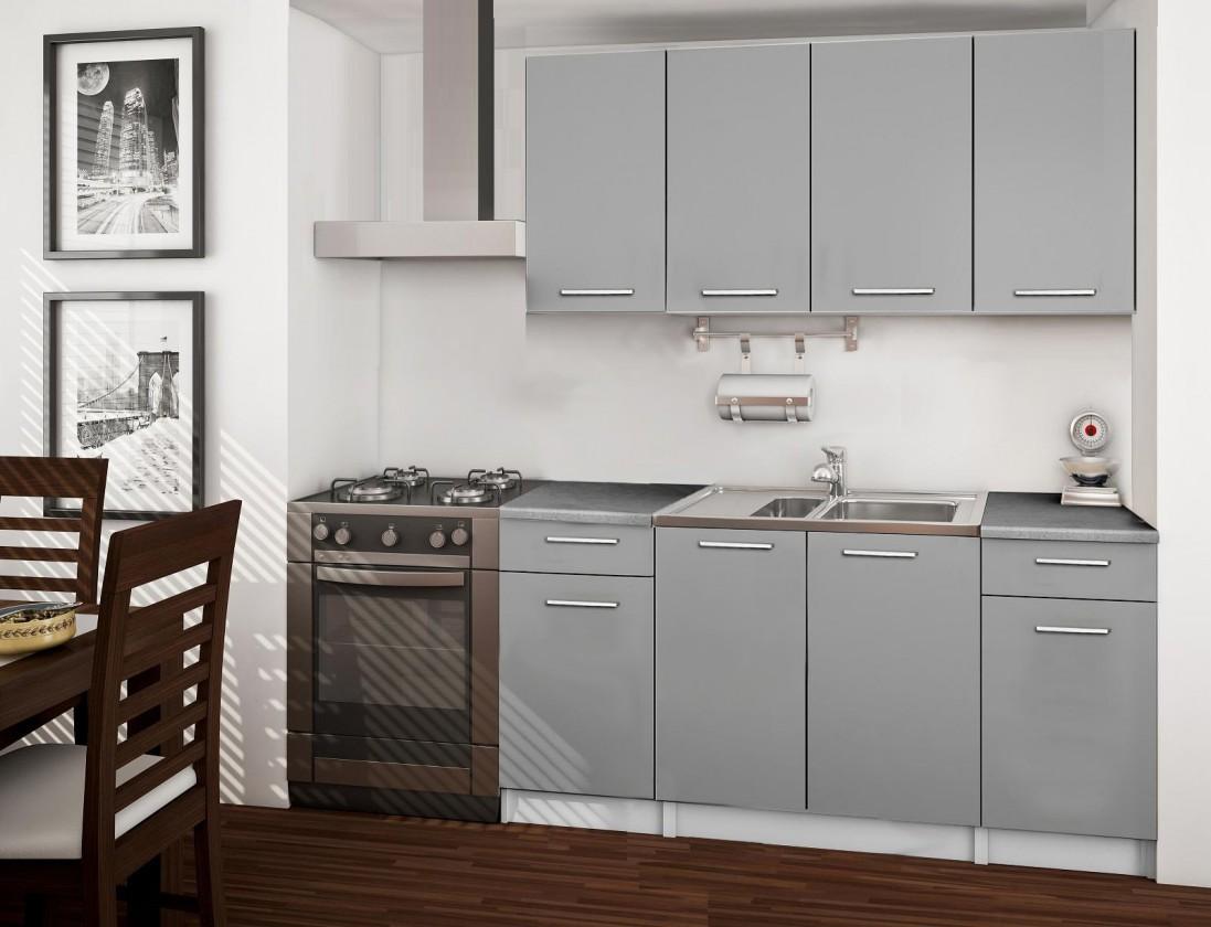 Basic - kuchyňský blok, 160 cm (šedá)