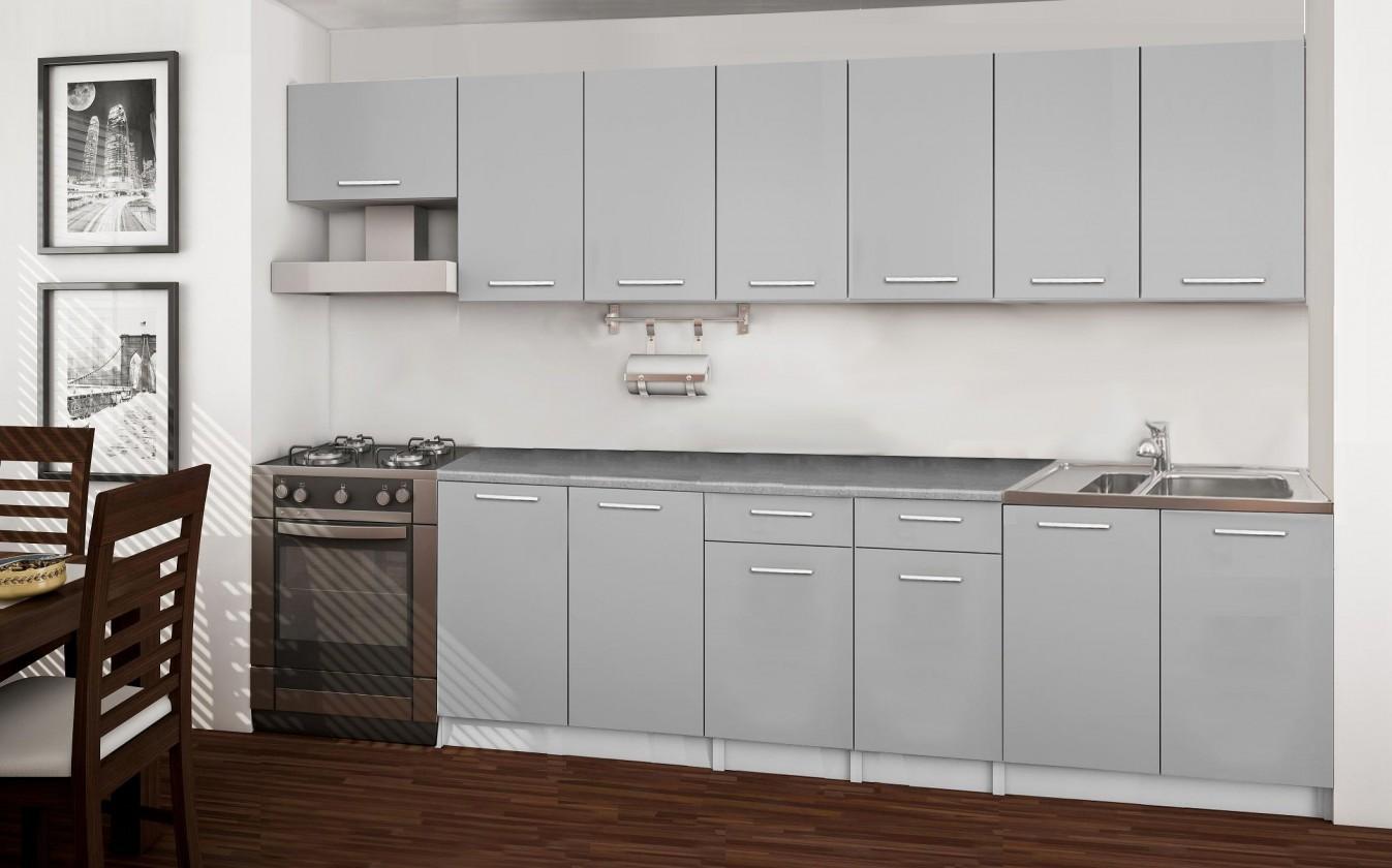 Basic - kuchyňský blok F, 300 cm (šedá)