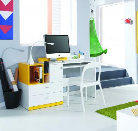 Bazar dětské pokoje Mobi - PC stůl, 1x dveře, 2x zásuvka (bílá lesk/žlutá)