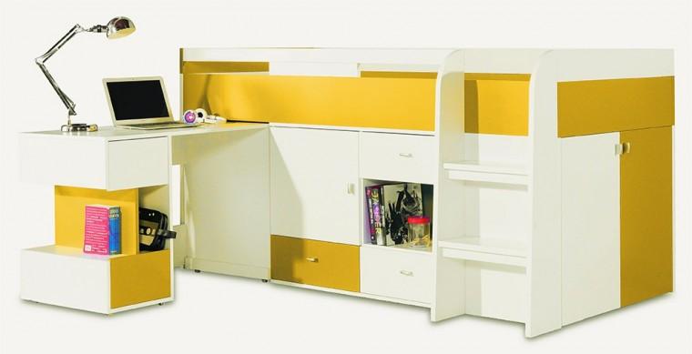 Bazar dětské pokoje Mobi - Postel se stolem 205/105,5/115,5 (bílá lesk/žlutá)