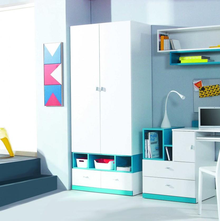 Bazar dětské pokoje Mobi - Šatní skříň, 2x dveře, 2x zásuvka (bílá lesk/tyrkysová)