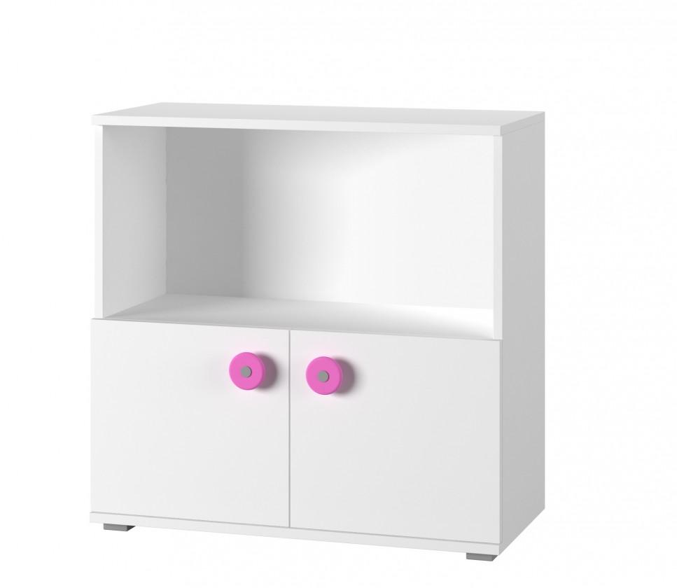 Bazar dětské pokoje Simba 11 - Komoda (bílá, korpus/bílá, růžová)