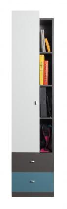 Bazar dětské pokoje Tablo - skříň, 1x dveře, 2x zásuvka (grafit/bílá, lesk/atlantic)