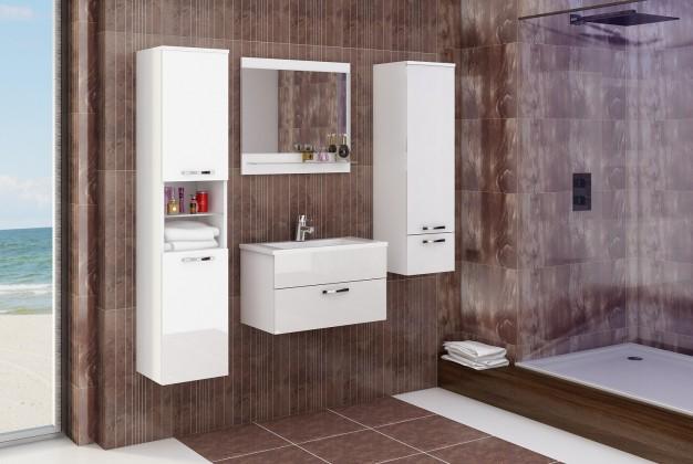 Bazar koupelny Adel - Sestava s umyvadlem (bílá/bílý lesk)