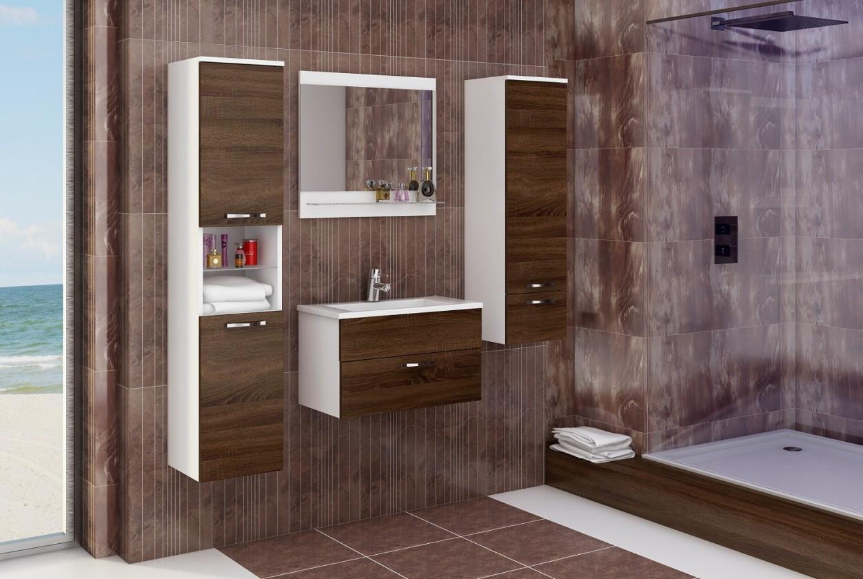 Bazar koupelny Adel - Sestava s umyvadlem (bílá/sonoma čokoládová)