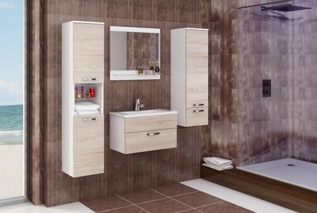 Bazar koupelny Adel - Sestava s umyvadlem (bílá/sonoma)