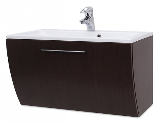 Bazar koupelny Valence - Skříňka s umyvadlem 80 cm z litého mramoru (ořech)