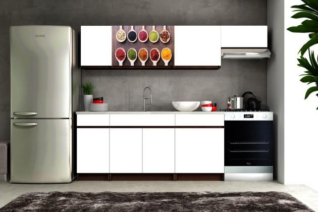 Bazar kuchyně, jídelny Eliza 2 - 180/240 cm (wenge/bílá/travertin tmavý/koření)