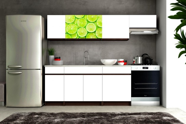 Bazar kuchyně, jídelny Eliza 2 - 180/240 cm (wenge/bílá/travertin tmavý/limetka)