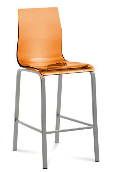 Bazar kuchyně, jídelny Gel - Barová židle (oranžová transparentní)