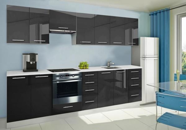 Bazar kuchyně, jídelny Mondeo - Kuchyňský blok E 300 cm (černá, mramor)