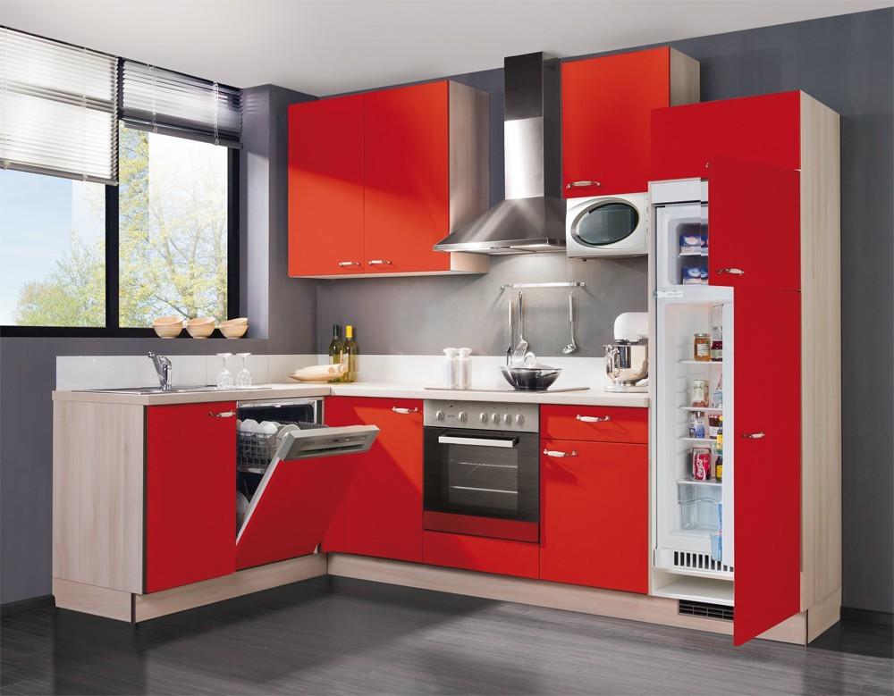 Bazar kuchyně, jídelny Slowfox - Kuchyň rohová, 280x175cm (červená/akácie)